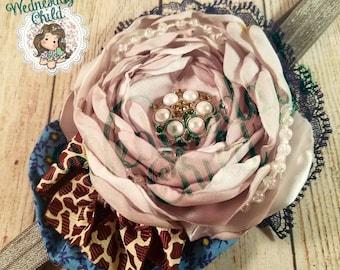 Silver handmade satin flower headband