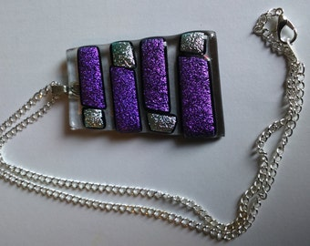 Fused glass pendant on 17 inch silver plate chain - purple and silver stripes