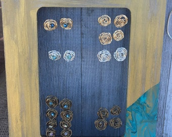 Stud Earrings- Rosette with or without bead