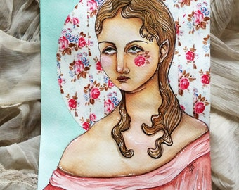Art Nouveau inspired Woman Original Watercolour Painting with Ink Detail