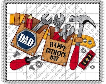 Happy Father's Day Tool Belt Edible Cake or Cupcake Toppers - Choose Your Size