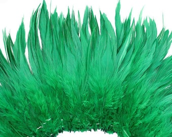 Wholesale 1/2 Yard, Strung Rooster Emerald Green Saddle Feathers (5-7 inches in length) for Crafting, Sewing, Wedding, Decoration SKU: 7A21