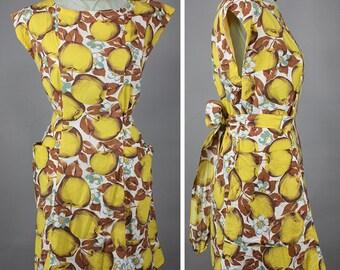 Delicious Yellow Apple Novelty Print Vintage 50s Wrap Apron Dress S M L