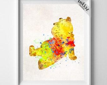 Pooh Art, Pooh Watercolor, Disney Present, Disney Wall Decor, Disney Wedding Gift, Nursery Poster, Pooh Artwork, Type 2, Dorm Decor
