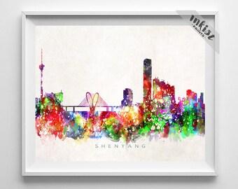 Shenyang Skyline Print, China Print, Shenyang Poster, China Cityscape, Watercolor Painting, Wall Art, Decor, Christmas Gift