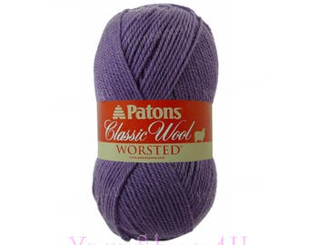 WISTERIA Patons Classic Wool. A Felting Medium 4 Worsted Weight, Pure New Wool. A dusty medium purple yarn that felts well. 3.5oz 100g
