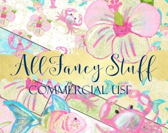 Commercial Use   Digital Paper   Clip Art   Tropical  