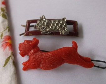 2 Vintage 1950s Scotty Dog Barrettes, Retro 50's Dog Barrettes, Super Cute Scottie Dog Barrettes