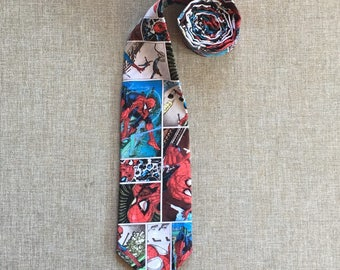 Marvel Neck Tie  / Spiderman Tie, Men's Neck Tie, Boy's Neck Tie, Tie Up Tie or Clip on Tie