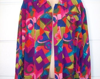 80's Abstract Print Oversized Button Down Blouse LS Christie & Jill Size Large