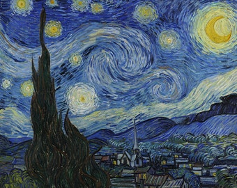 "Van Gogh ""Starry Night"" (digital download of the original painting, high resolution jpg), instant download artwork"