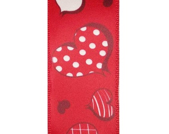 """1-1/2"""" Wired Heart Plaid Valentines Day Ribbon - 10 Yards"""