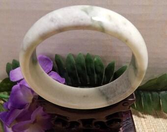66mm Jade Bangle Bracelet Jewelry Crafts Supplies DIY Crafts Supplies Green White Jade