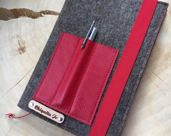 Calendar book cover from wool felt & leather · BROWN/RED