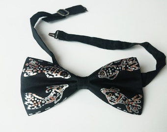 Hand painted silk bow tie black silk bowtie Fish motif Handmade men accessories  Gift for Him Christmas gift Ready to ship