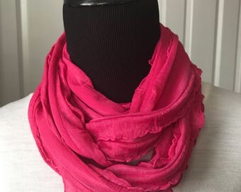 Fuchsia pink ruffle knit infinity scarf! Beautiful spring/summer color! Cute for any season! Lightweight & airy! Fun necklace scarf!