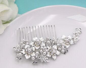 Swarovski Bridal Pearl Comb, Rhinestone Comb, Bridal Comb, Wedding Crystal Hair Comb, Hair Comb, Wedding Accessory, Bridal Comb 208009552