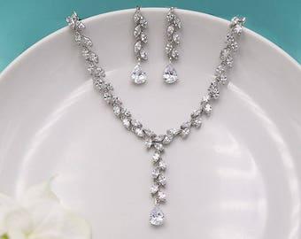 Wedding Jewelry Set, Wedding Jewelry Set for Brides, CZ Wedding Necklace Set, bridal jewelry set, Y Drop Necklace Set 524744065