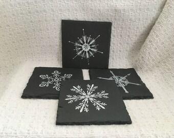 "Slate Coasters, Stenciled Slate Coasters, Felt Base, 4"" Square, Set of 4 Coasters, Gray Slate Coasters, Stenciled Coasters"