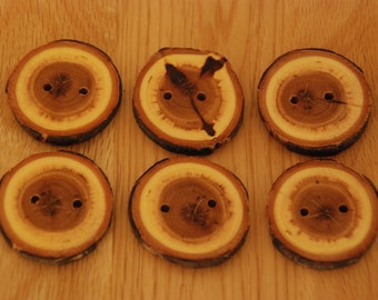 6 Handmade Round Mystery Wooden Buttons 40mm Tree Branch Buttons Sewing Knitting Craft UK Seller