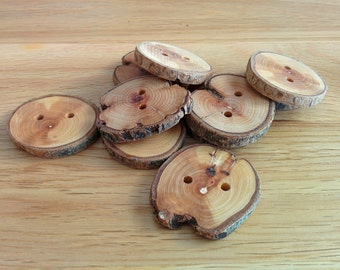 10 Handmade Round Wooden Buttons 35mm Tree Branch Buttons Sewing Knitting Craft UK Seller