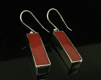 Red Coral Earrings // 925 Sterling Silver // Rectangle Setting // Natural Red Coral Earrings