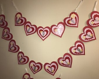 """Heart Shape Chipboard Cardstock Pennant Banner """"Happy Valentine's Day"""" Kit available"""