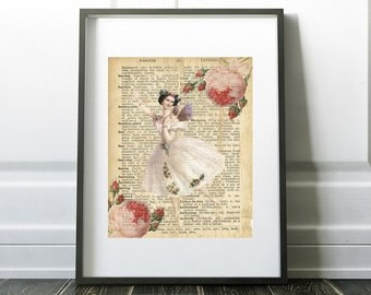 Ballerina Fairy with Roses, Dictionary art, Digital Download, Printable Art, Home Decor, Little girls room, Babies and Kids room,