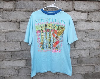 Vintage T-Shirt New Orleans Early 1980s French Quarter Jazz Pastel Colors Mardi Gras Hard to Find sz Large Unisex Celebrate USA South