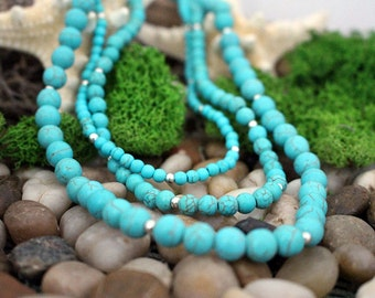 Three Strand Turquoise & Silver Necklace, Semi Precious Stone Necklace, Bead Necklace, Handcrafted, Gift for Her
