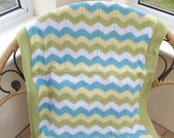 Baby Blanket - Hand Knit Baby Showe, New Baby, Baptism or Adoption Gift