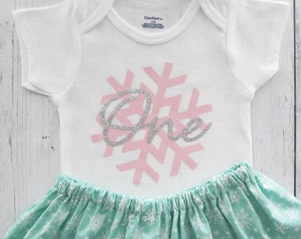 Winter Onederland Snowflake First Birthday Outfit - twirl skirt, girl birthday, pink silver mint, winter, frozen, elsa, pink silver