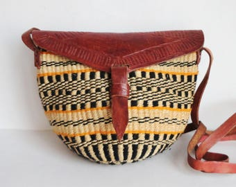 Vintage Sisal And Leather Shoulder/Crossbody Bag // Wowen // Tooled Leather // Yellow Black Brown