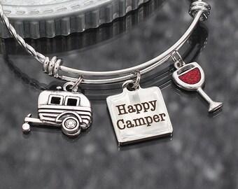 Happy Camper Bracelet, camping gift, charm bracelet glamping jewelry, RV travel trailer, happy camper jewelry, camping charm bracelet gift