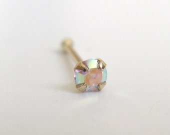 9K Solid Gold Nose Stud - Nose Stud - Crystal Nose Stud - Tiny Nose Stud - Nose Jewelry - Nose Piercing - Nostril Stud - Nostril Jewelry