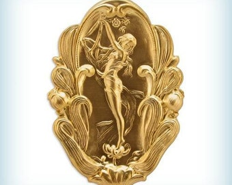 1 Raw Brass Stamping Art Nouveau Lady, Nymph, Oval Embellishment, 67mm AMERICAN MADE