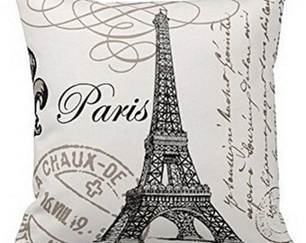Paris Eiffel Tower & French Script - Pillow Cover