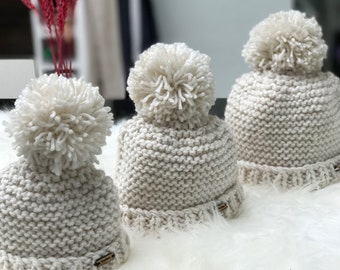 Newborn baby chunky knit pompom hat - aged 0-6 months baby pompom hat, baby hat, cute baby gift, baby photography prop, baby