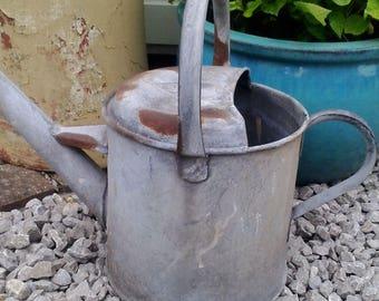 Vintage Watering Can, Galvanised Planter, Garden display.