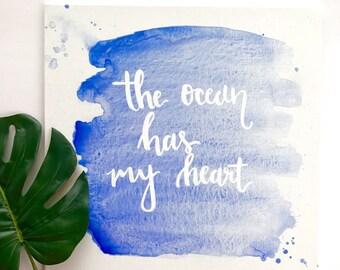 "The Ocean Has My Heart 12x12"" watercolor canvas"