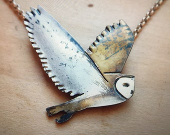 Sterling Silver Barn Owl Necklace