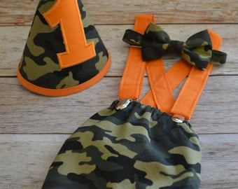 Boy Cake Smash Outfit, Camouflage Cake Smash, Boy 1st Birthday Outfit, Cake Smash Set, Camouflage Bowtie and Diaper Cover