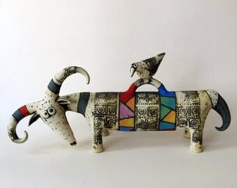 ram - ceramic ram - sculpture - ceramic sculpture - bird - art - Israeli art - ceramic
