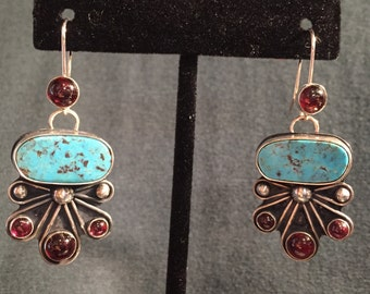 Turquoise and Garnet Sterling Silver Earrings