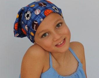 Mia Children's Head Cover, Girl's Cancer Headwear, Chemo Scarf, Alopecia Hat, Head Wrap, Cancer Gift for Hair Loss - Soccer
