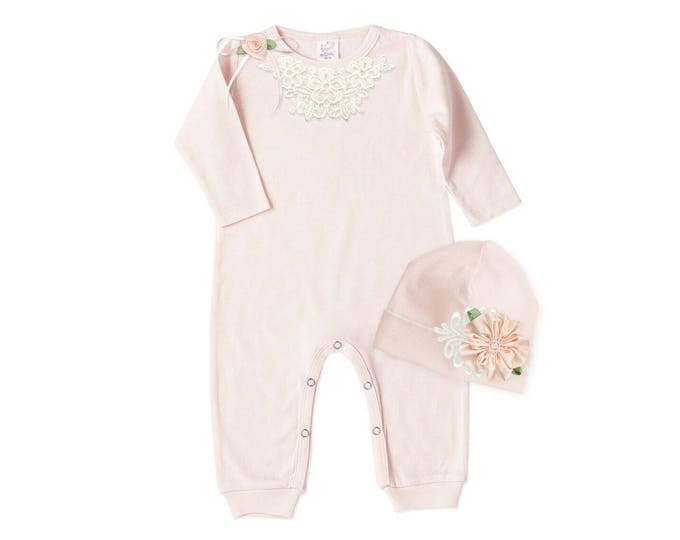 Newborn Girl Lace Coming Home Outfit, Baby Girl Romper, Take Home Outfit, Pink Bodysuit & Beanie, Floral, Tesababe RC81BH63BH