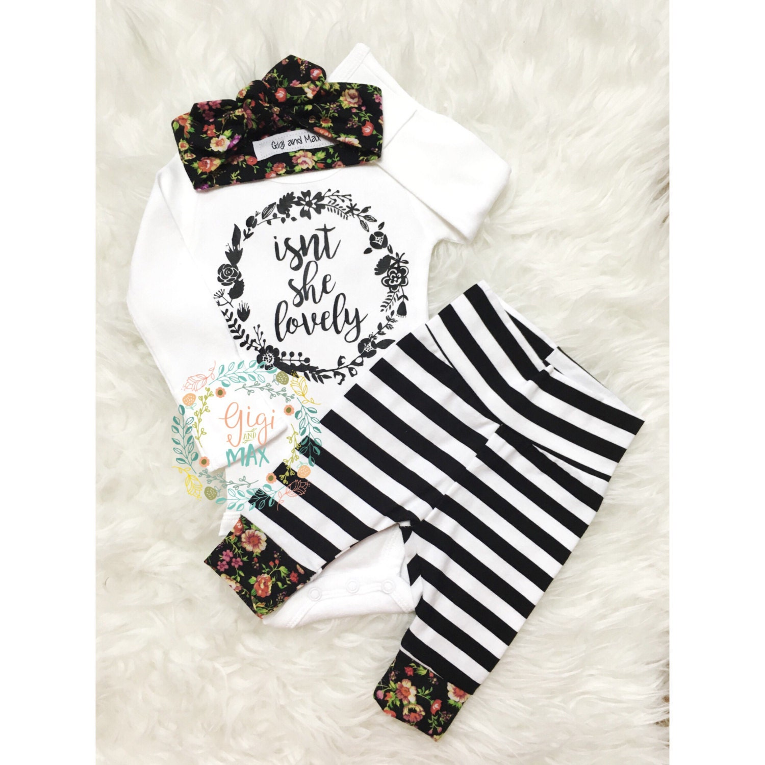 Newborn Baby coming home outfit Isn't she Lovely Floral