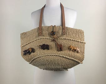 Vintage Sisal Straw Bag Leather Straps Wood Animals
