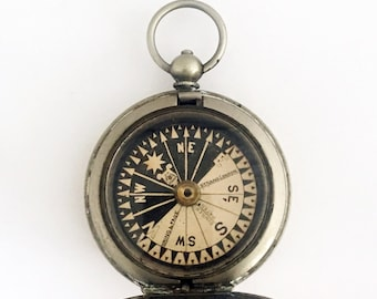 1910s Antique British Pocket Compass Trade Mark London Compass Singer's Pattern Dial Hunter Compass