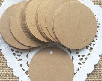 25 Brown Kraft Paper Round Gift Tags Price Tag Crafts 5 x 5cm